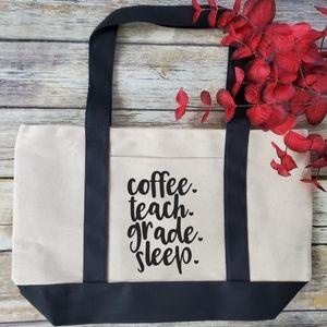 Coffee Teach Grade Sleep Large Canvas Tote Bag